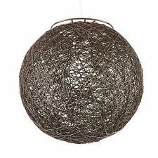Brilliant Alarik HEMP WOVEN SPHERE SHADE Ceiling Batten Light Fitting BROWN