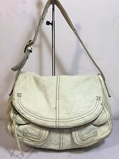 LUCKY BRAND Italian leather Ivory Rugged STASH Flap Hobo Shoulder Bag