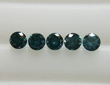 0.10cts 1.7mm 5pc Natural Loose Fancy Blue Diamond SI Clarity Brilliant Cut