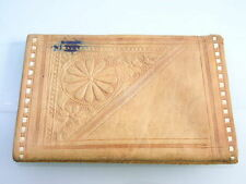 VINTAGE LIGHT BROWN BOHO FLOWER STYLE LEATHER WALLET PURSE - INK STAINED