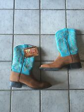 Tony Lama Western Boots Women  9 B Ranch Blue RR2101L