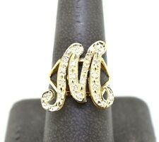 14k GOLD AND DIAMOND INITIAL M RING SIZE 7.5