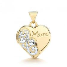 9ct Solid Yellow/White Gold MUM Heart Engraved Photo Locket Pendant Gift LK0164