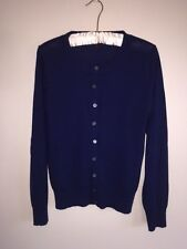 WOMENS J.CREW CARDIGAN SIZE MEDIUM NAVY 100% WOOL BLUE SWEATER LONG SLEEVES