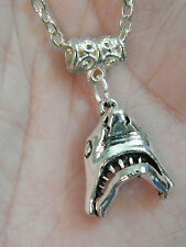 "GREAT WHITE SHARK Necklace SILVER Tone SHARK JAWS! Mouth Opens Up! 20"" Chain NEW"