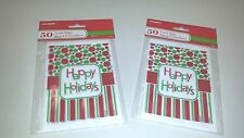 """100 Mini Treat Plastic Candy Bags Happy Holidays Party Supply 4"""" x 6"""" Christmas"""