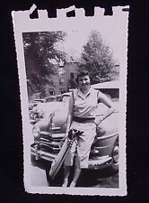 VINTAGE PICTURE OF WOMAN GOLF CLUBS & A PLYMOUTH CAR PHOTO PHOPTGRAPH