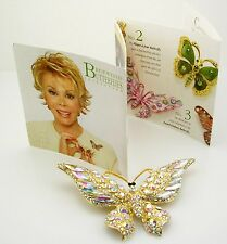 "Joan Rivers Magnificent Wide Winged Crystal  Butterfly Brooch 3 1/2"" Aurora G."