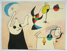 Unique handmade drawing  painting signed (JOAN) MIRO. Surrealism. Abstract
