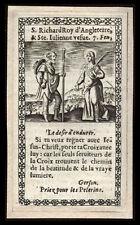 santino incisione 1600 SS.RICCARDO RE D'INGHILTERRA E GIULIANA DI BOLOGNA