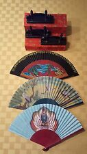 Three Gift-boxed Asian Folding Fans with Wooden Presentation Stands