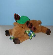"16"" Chosun Bean Plush Floppy Moose W/ Green Hat & Winter Pine Tree Scarf"