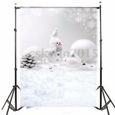 5x7ft Vinyl Christmas Winter Snowman Snow Studio Backdrop Photo Background Props