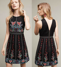 NWT ANTHROPOLOGIE Chennai Dress by Maeve Black Floral Embroidery Sz 6 S $228