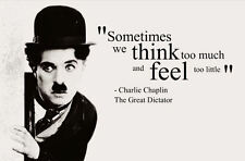 "Framed Print - Charlie Chaplin Quote ""We Think too Much"" (Picture Poster Art)"