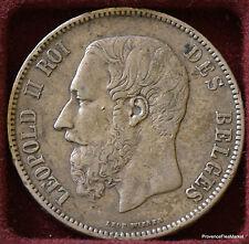 BELGIQUE Ecu 5 Francs Léopold II 1870 Belgium - Argent 956A5