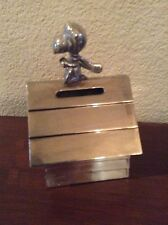 Vintage Peanuts Snoopy Flying Ace Lunts Silver Plated Bank Hard To Find Nice