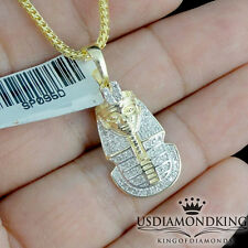 YELLOW GOLD PLATED OVER REAL STERLING SILVER REAL DIAMOND PHARAOH CHAIN NECKLACE