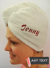 Personalised Microfiber White Hair Towel Turbie Turban Country Club Polyester