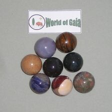 GEMSTONE MARBLES Mix spheres 8 different stones in pkg 20mm