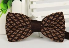 ZZBW248 Men's Dark Brown Pattern Bowtie Knit Knitted Pre Tied Bow Tie Woven