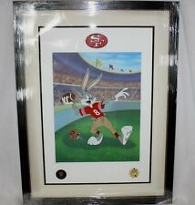 Looney Tunes Warner Bros Bugs Bunny 49'ERS Hail Mary FOOTBALL Litho FRAMED