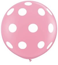 "Qualatex 36"" Giant Pink Polka Dot Round Large Balloon 36 inch Balloon"