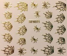 Nail Art 3D Decal Stickers Metallic Gold Spiders & Spider Webs XF6071