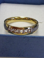 18K GOLD & PLATINUM 950 MENS 2-TONE WEDDING BAND CHANNEL SET STONES RING SIZE 10
