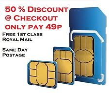 UK o2/02 Network pay as you go 02 SIM SIGILLATA illimitato chiamate e SMS