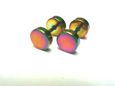 A PAIR OF  RAINBOW STAINLESS STEEL FAKE PLUG MENS BARBELL EARRINGS. 6MM. NEW.