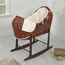4BABY DARK WICKER / CREAM WAFFLE PADDED NOAH POD MOSES BASKET & ROCKING STAND