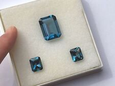 Superb London Blue TOPAZ 3 stone set 19mm and 11mm