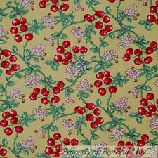BonEful Fabric Cotton Quilt Yellow White Green Leaf Red CHERRY TREE Flower SCRAP