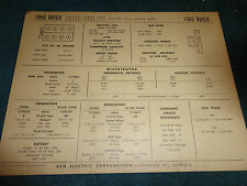 1960 BUICK V8 TUNE-UP CHART / INVICTA / ELECTRA / 225 / FREE SHIPPING!!