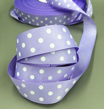 "Purple 5 Yards 1""( 25mm)  printed lot large dots Grosgrain Ribbon lot"