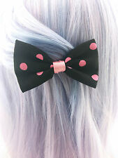 Black and Pink Polkadot Print Small Fabric Hair Bow - Dot Hair Clip