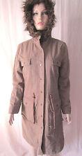 Miss Selfridge khaki green longline hooded popper front parka Size 8
