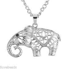 1PC New Women Fashion Silver Tone Elephant Pendant Link Chain Necklace 81cm