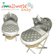 Personalised Grey And White Polka Dot Moses Basket Cover Set