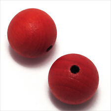 Lot de 20 Perles rondes en Bois 16mm Rouge