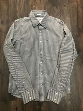 Mens Abercrombie & Fitch Mocha White Pinstriped Long Sleeve Shirt - Size Large