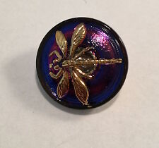 Vintage Glass Button - Iridescent Purple & Pink with Gold Dragonfly