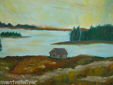 Original OIL Painting Ipswich MA Cottage on Bay PRIMITIVE ocean seascape art