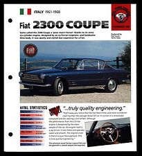 """""""FIAT 2300 COUPE"""" (1961-1968) FOLDOUT SPEC SHEET-HOT CAR-ALL TIME GREATS"""