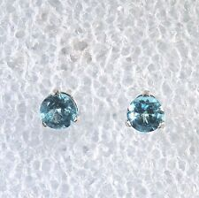 Apatite Paraiba Blue 925 Sterling silver 5mm round Martini 3 prong stud castings