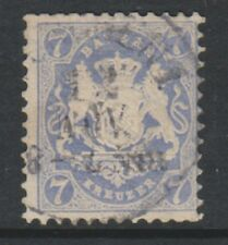 Germany (Bavaria) - 1870/73, 7k Pale Blue - Wmk Narrow Mesh 14mm - Used - SG 56B