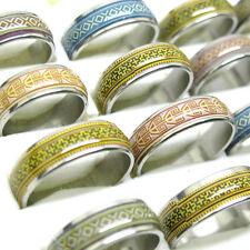 Lots 10Pcs Mixed Size Vintage Stylish Oil Drop Stainless Steel Ring Jewelry T11