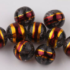 New Gold Foil Edge Czech Glass Crackle Round Spacer Beads Jewelry Making DIY 8mm