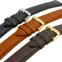 Super-Long XXL Padded Croc Grain Leather Watch Strap Band 18mm 20mm 22mm 24mm
